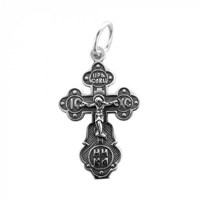 Серебряный крест Небесная защита с родием 000067017