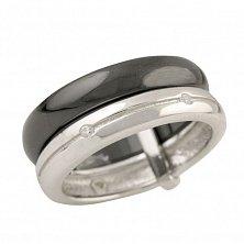 Серебряное кольцо Ивонн с черной керамикой и фианитами