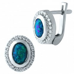 Серебряные серьги Лагуна с синими завальцованными опалами и дорожками из белых фианитов