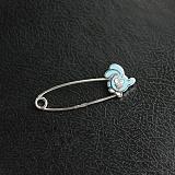 Серебряная булавка с голубой эмалью Смешарик