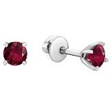 Серебряные серьги Аделлина с рубинами