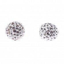 Серебряные пуссеты-шары Блеск с кристаллами Swarovski белого цвета