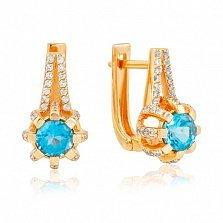 Золотые серьги Кристина с голубым топазом и фианитами