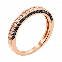 Кольцо из красного золота с черными и белыми фианитами 000135990