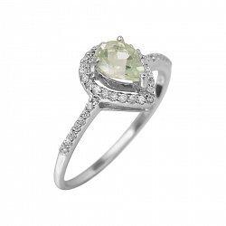 Серебряное кольцо Серафима с зеленым кварцем и фианитами