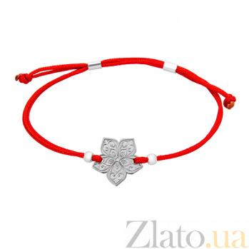 Шелковый браслет со вставкой Цветочек Цветочек