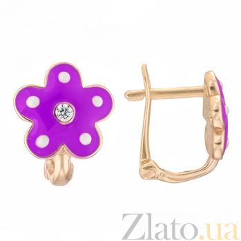 Детские золотые серьги с фиолетовой эмалью Цветок 25246/2фиол