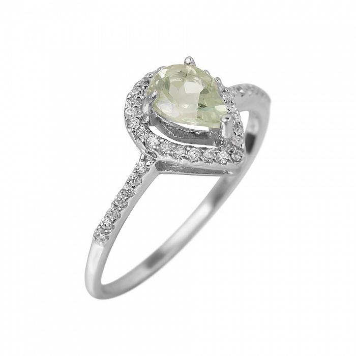 Серебряное кольцо Серафима с зеленым кварцем и фианитами 000081623