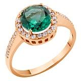 Кольцо в красном золоте Келли с синтезированным кварцем и фианитами