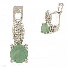 Серебряные серьги Гелла с изумрудом и фианитами