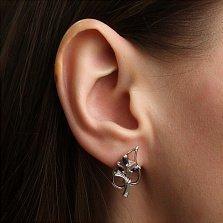 Серебряные серьги Диля с сапфирами и бриллиантами