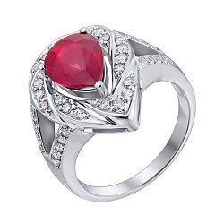 Серебряное кольцо с рубином и фианитами 000140135