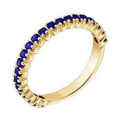 Золотое кольцо в жёлтом цвете с сапфирами 000021189