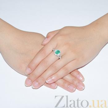 Серебряное кольцо Нейла с изумрудом и фианитами 1750/9р из