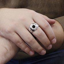 Серебряный перстень-печатка Эмиссар с фактурной шинкой, обсидианом и фианитами
