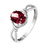 Серебряное кольцо Висконсин с гранатом