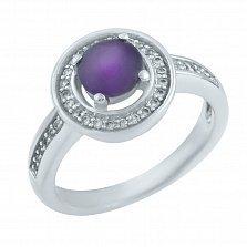 Серебряное кольцо Виолетта с аметистом и фианитами