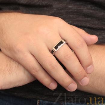 Мужское серебряное кольцо Атрей с черной эмалью 000005485