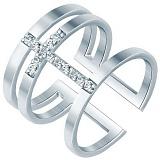 Серебряное широкое кольцо Крест с фианитами