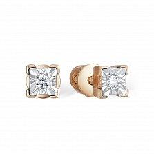 Золотые серьги-пуссеты Шейла в красном цвете с бриллиантами и насечкой