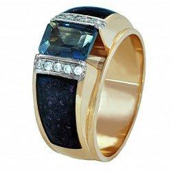 Золотой перстень-печатка Космическая бездна с эмалью и фианитами 000095775