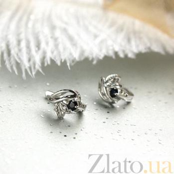 Серебряные серьги с бриллиантами и сапфирами Подарок природы ZMX--EDS-15678-Ag_K