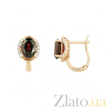 Золотые серьги с гранатами и бриллиантами Мулен Руж 1С034-1083