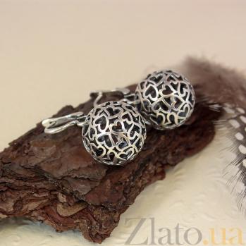 Серебряные ажурные серьги-подвески Любимые шарики 000079953