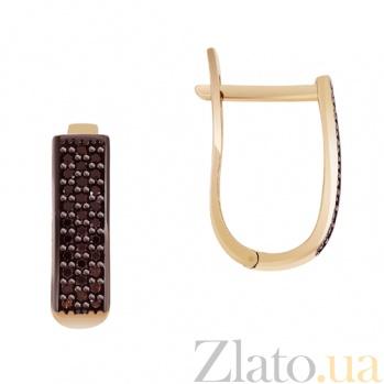 Золотые серьги Гюзель с черными фианитами SVA--2190949101/Фианит/Цирконий
