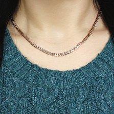 Золотая цепочка Флер панцирного плетения с гранями и родированной насечкой на стыках звеньев, 3мм