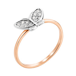 Кольцо в комбинированном цвете золота с фианитами 000000252
