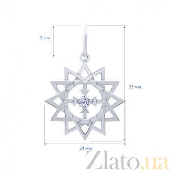 Серебряный кулон с фианитом Звезда Эрцгаммы  AQA--3215