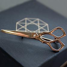 Позолоченная брошка из серебра с фианитом Ножницы