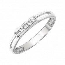 Кольцо из белого золота Ореана с белым цирконием