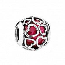 Серебряный шарм Сердечки с красной эмалью в стиле Пандора