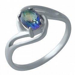 Серебряное кольцо с топазом мистик и родированием 000128878