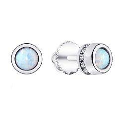 Серебряные серьги-пуссеты с фианитами 000139647