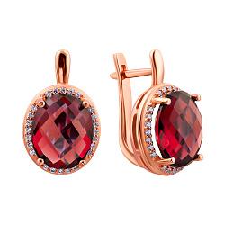 Серьги в красном золоте Регина с синтезированным рубином и фианитами 000031981