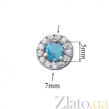 Серебряные серьги-пуссеты Солнышко с голубым кварцем и цирконием, 7мм 2112/9-QSWB
