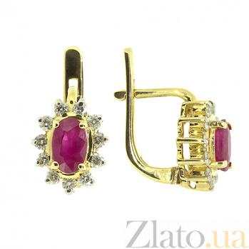 Золотые серьги с бриллиантами и рубинами Малинка 000022060