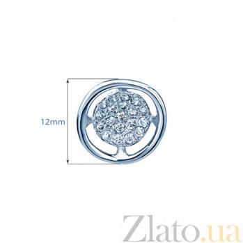 Серебряные серьги-пуссеты с фианитами Валери 000027164
