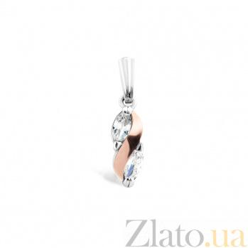 Серебряный подвес Мариетта с золотой накладкой, фианитами и родием 000079101