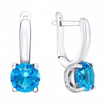 Серебряные серьги с голубым кварцем 000064459