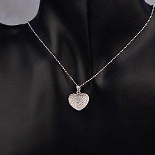 Серебряный кулон-сердце Серенада любви с фианитами