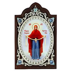 Икона Покров Пресвятой Богородицы с серебром, голубыми фианитами и цветной эмалью 000004182