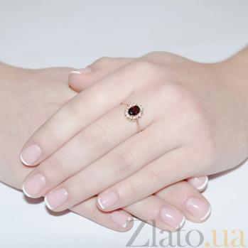 Золотое кольцо Синтия с гранатом и фианитами EDM--КД4028ГРАНАТ