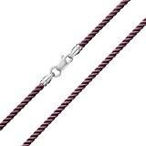 Шелковый шнурок ,темно розового цвета с серебряной застежкой Милан, 2мм