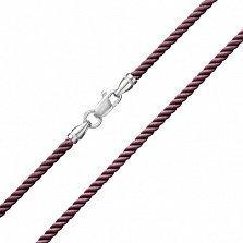 Бордовый крученый шелковый шнурок Милан с серебряной застежкой, 2мм