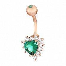 Серебряная серьга для пирсинга Сальма с позолотой, зеленым и белыми фианитами
