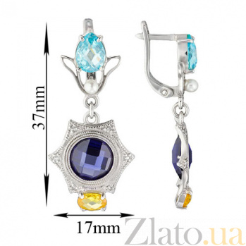 Серебряные серьги Самоцветы TNG--430611С/син